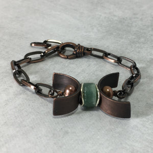 Gemstone Copper Triple Moon Bracelet