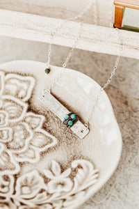 Gemstone Wrapped Hammered Silver Bar Necklace
