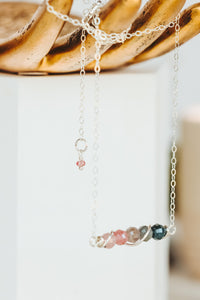 Natural Spinel Gemstone Bar Sterling Silver Necklace