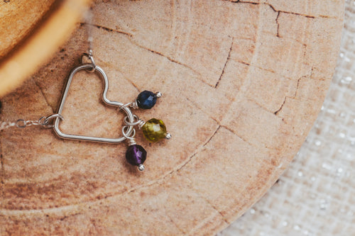 Gemstone Drop Sterling Silver Heart Necklace | Birthstone Jewelry