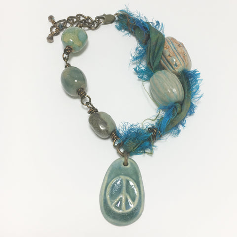 Peace Charm Sari Ribbon Beaded Bracelet