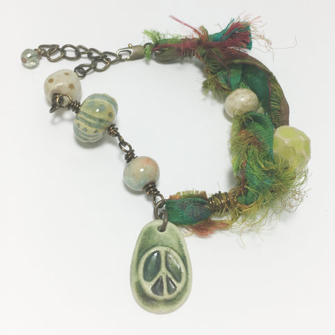 Green Peace Charm Sari Silk and Ceramic Bead Bracelet