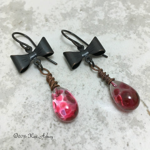 Passion Pink Steampunk Bow Earrings