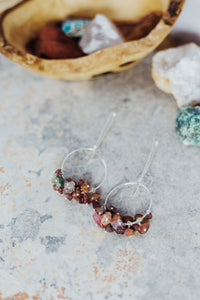Raw Tourmaline Gemstone Sterling Silver Earrings