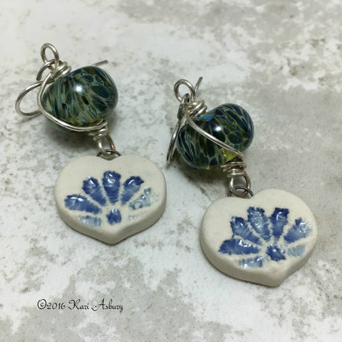 Blue Lace Charm Earrings