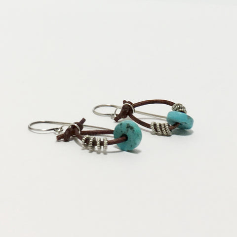 Gemstone Silver Leather Hoop Earrings
