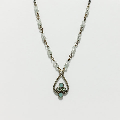 Gemstone Crystal Antique Brass Long Necklace