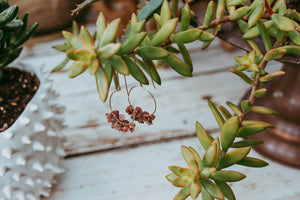 Rough Tourmaline Gemstone Rose Gold Filled Earrings