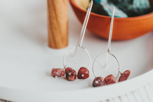 As Seen On Amazon's New Dogs, Old Tricks Rhodonite Drops Sterling Silver Circle Earrings