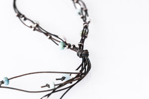 As Seen On Netflix Chambers Pearl and Gemstone Multi-Strand Leather Necklace with Silver Accents