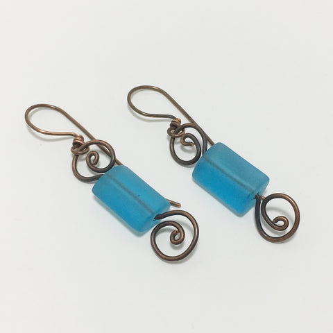 Cultured Seaglass Antique Copper Swirl Earrings