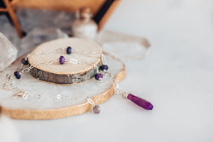 As Seen On Baby Daddy Purple Gemstone Necklace