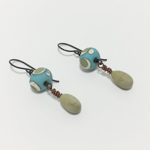 Sand and Sea Artisan Lampwork Earrings