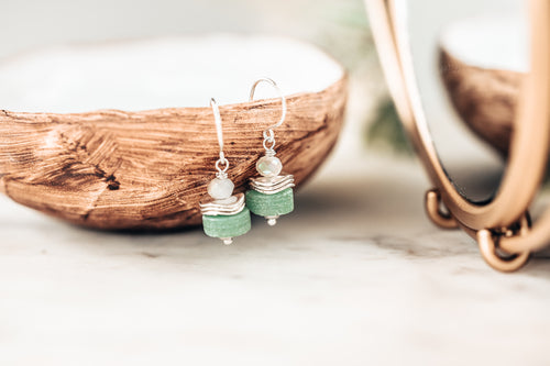 Chunky Gemstone Sterling Silver Earrings