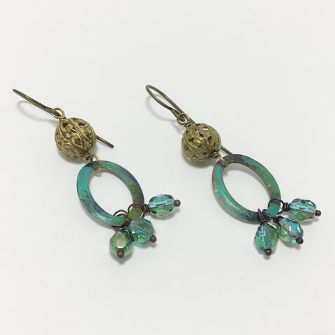 One of a Kind Vintage Style Patina Green Brass Earrings