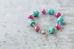 Chunky Gemstone and Pearl Sterling Silver Bracelet