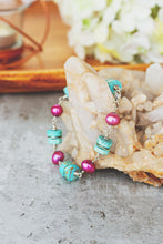 Load image into Gallery viewer, Chunky Gemstone and Pearl Sterling Silver Bracelet