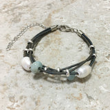 Pearl and Gemstone Multi-Strand Leather Bracelet with Silver Accents
