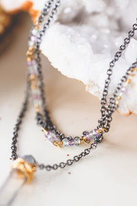 Aura Crystal Pendant 3 Strand Choker in Gunmetal and 14K Gold Filled As Seen On CW's Charmed