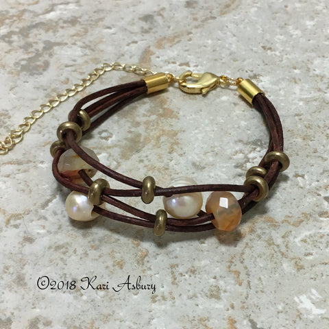 Pearl and Gemstone Multi-Strand Leather Bracelet with Gold Accents