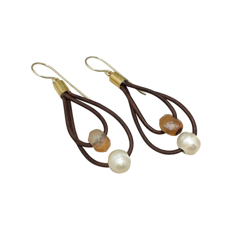 Pearl and Gemstone Double Hoop Leather Earrings with Gold Accents