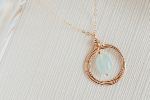Blue Chalcedony Circle Pendant Gold Filled Necklace