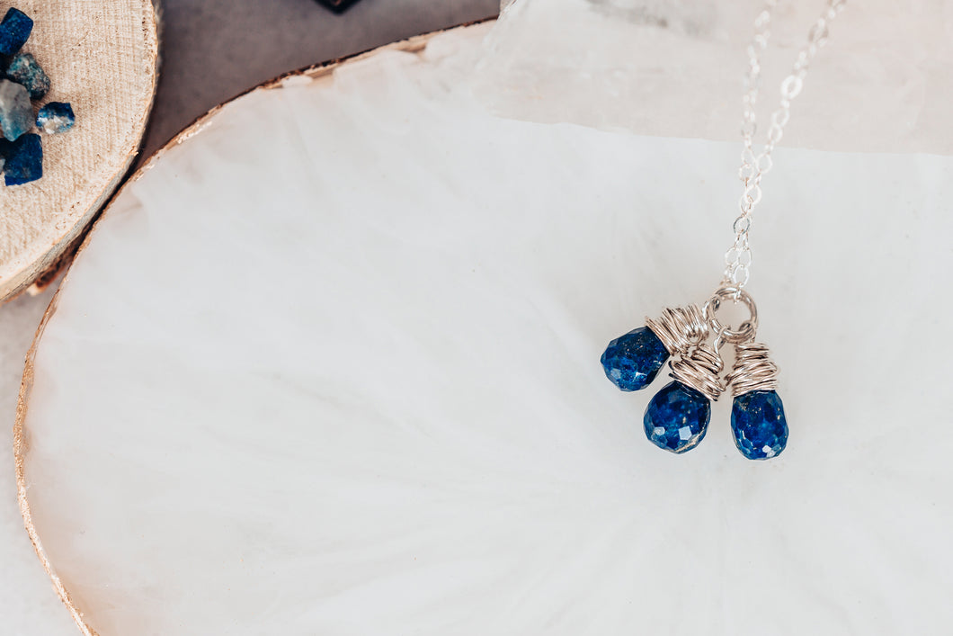 Lapis Lazuli Gemstone Drops Sterling Silver Necklace As Seen On Seal Team