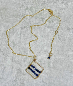 Gemstone Geometric Pendant 14k Gold Filled Necklace