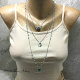 Triple Layer Gemstone Silver Necklace