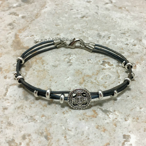 Silver Leather Multi Strand Men's Bracelet