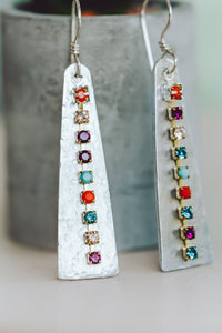 Rhinestone Chain Textured Triangle Earrings | As Seen On TV | Netflix Firefly Lane