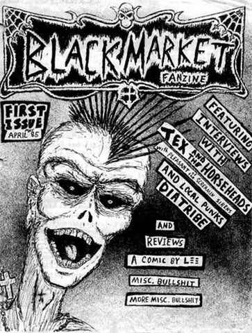 black market fanzine, 80s punk rock zine, issue number one, art by Rex Edhlund of Danger Factory streetwear