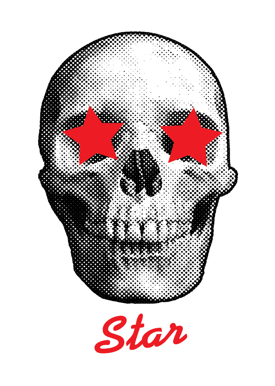 Death Star, skull with stars in his eyes t-shirt design