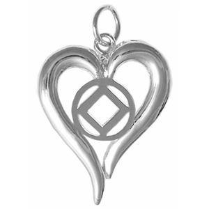 tsg397-9- Silver, Heart Pendant with NA Symbol - CLEARANCE