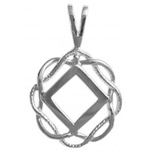 tsg546-9- Silver NA Symbol in a Basket Weave Circle - CLEARANCE