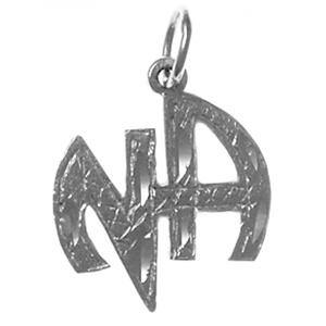 tsg819-11- Silver Sterling Silver NA  Initials Pendant - CLEARANCE