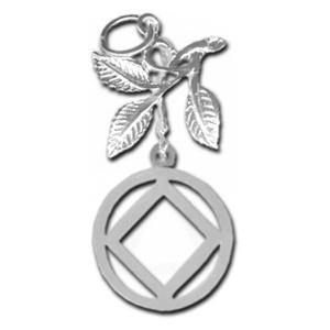 tsg830-9- Silver NA Symbol in a Circle with 3 Leaves - CLEARANCE