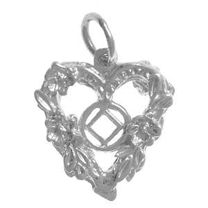 tsg985- Silver NA Symbol in the Center of Open 2 Sided Heart - CLEARANCE