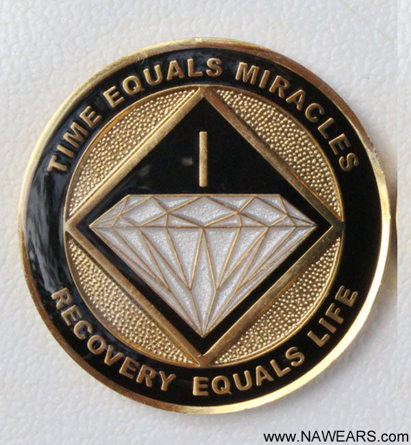 Recovery Medallion -  Black & Gold