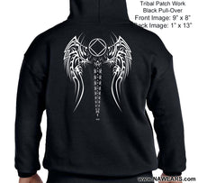 Hoodie - Tribal Patch Work - Black