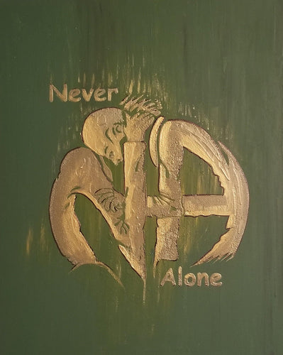 NA-ART - Canvas NA HUGS In GREEN and Gold