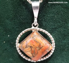 az0178- NA Twisted Silver With TYextured Gem Pend