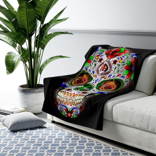 Sugar Skull Fleece Blanket - nawears