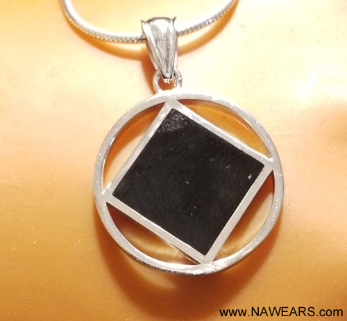 ssj005- Medium Silver & Black Pendant