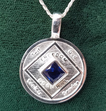 ssj010- Quarter Size NA Medallion w/ Blue Gem
