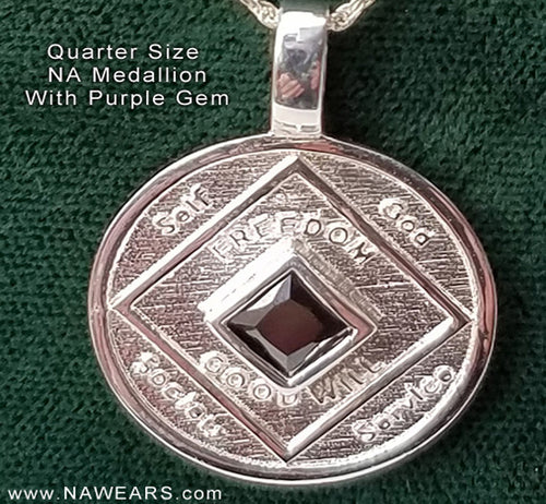 ssj011- Quarter Size NA Medallion w/ Purple Gem