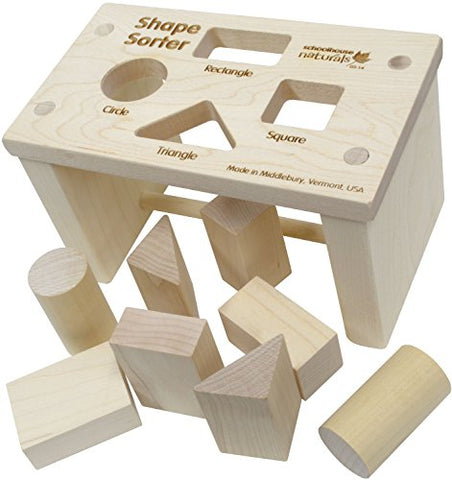 Shape Sorter Bench - Made in USA : Baby Shape And Color Recognition Toys