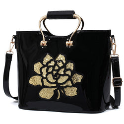 Red Black Luxury Sequin Rose Flower Hollow Out Women Bag Patent Leather Handbag For Woman Tote Bag Shoulder Bags Famous Brand - Bold and Beautiful
