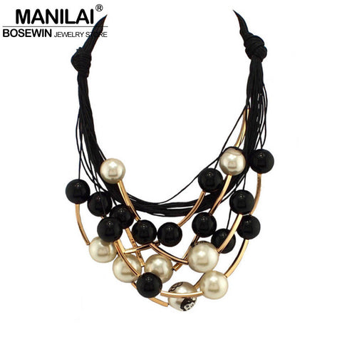 MANILAI Maxi Jewelry imitation Pearl Necklace Black Rope Bead Golden Tube Statement Collar Choker Necklace For Women Collier - Bold and Beautiful