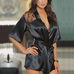 Satin Lace Perspective Bathrobe and Night-Gown - Bold and Beautiful